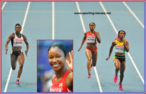 Carmelita Jeter - U.S.A. - Third place in women's 100m at Moscow World Champs.