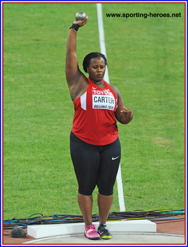 Michelle Carter - U.S.A. - Bronze medal in Beijing then Gold at the 2016 Olympic Games