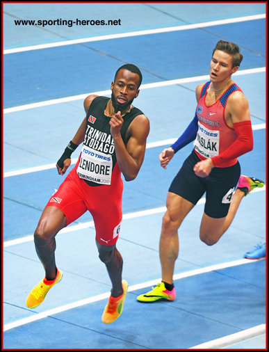 Deon LENDORE - Trinidad & Tobago - 3rd in 400m at 2018 World Indoor Championships.