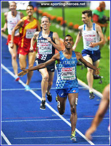 Yohanes CHIAPPINELLI - Italy - 3rd. in 3,000m Steeplechase at 2018 European Championships.