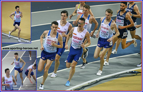 Chris O'HARE - Great Britain & N.I. - 2nd. in 3000m at 2019 European Indoor Championship.