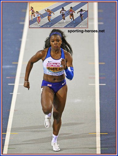 Asha PHILIP - Great Britain & N.I. - 3rd. in 60m at 2019 European Indoor Championships.