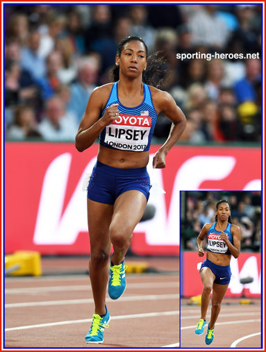 Charlene LIPSEY - U.S.A. - Seventh in 800m at 2017 world Championships.